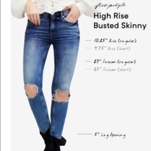 New Free People Busted Knee 4447 Sz29 Skinny Jeans